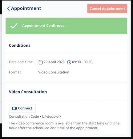 Medesk appointment confirmations