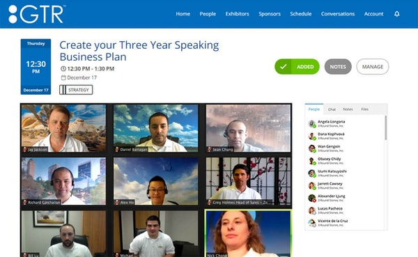 GTR virtual event platform