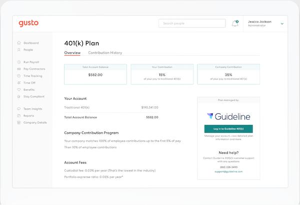 Gusto 401K plan