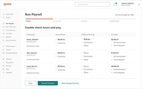 Gusto - Gusto run payroll