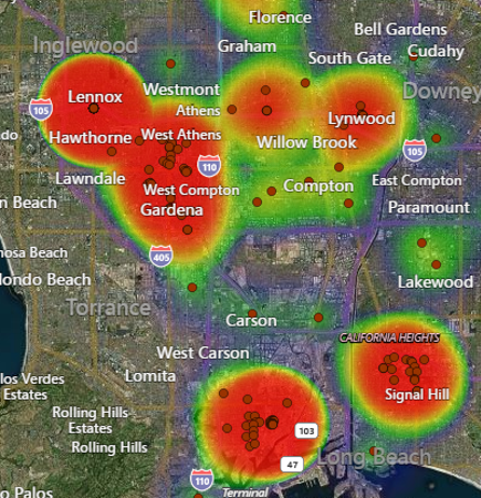 LandVision heat maps screenshot