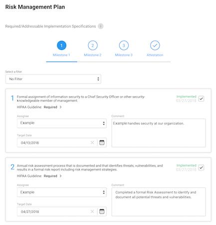 HIPAA Assessment risk management planning