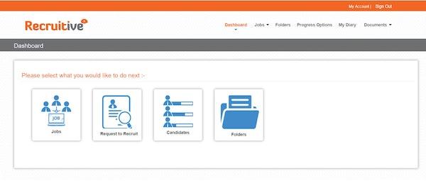 Recruitive hiring manager portal screenshot