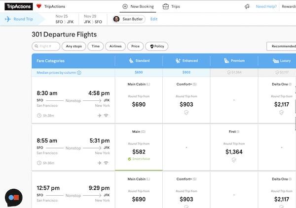 TripActions displaying departure flights