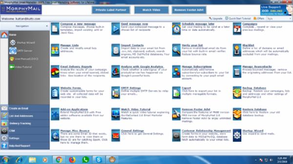 MorphyMail home screen screenshot