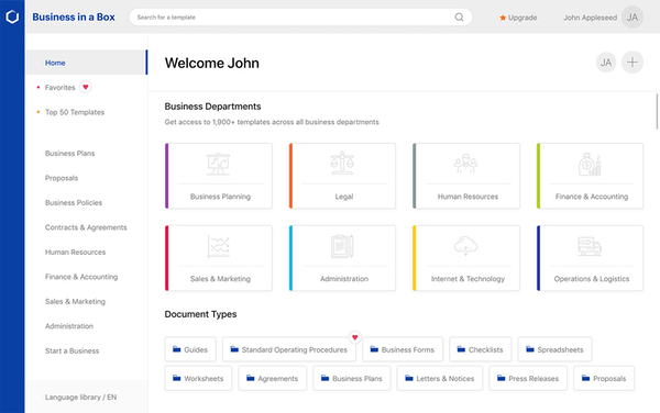 Business-in-a-Box homepage