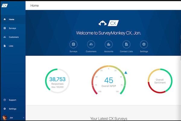 SurveyMonkey CX homepage
