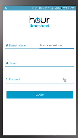 Hour Timesheet login page