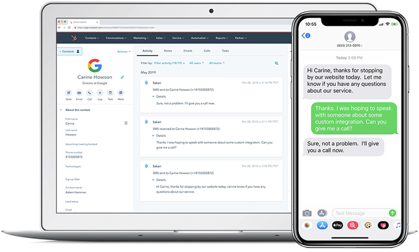 Sakari Hubspot integration screenshot
