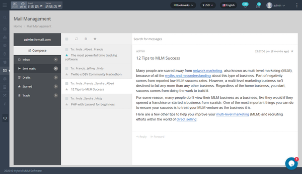 Hybrid MLM mail management