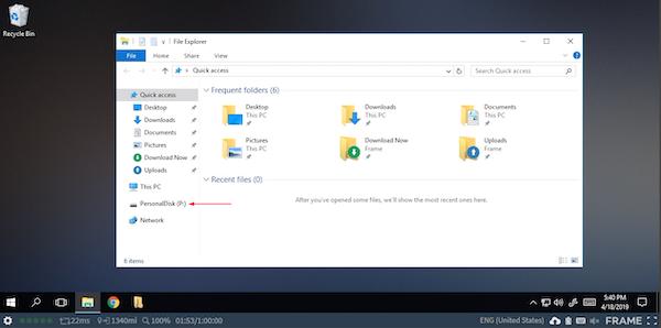 Frame virtual desktop display
