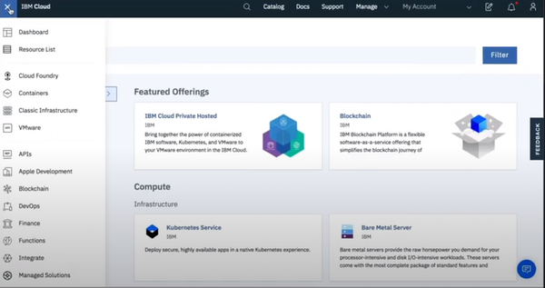IBM Cloud main interface