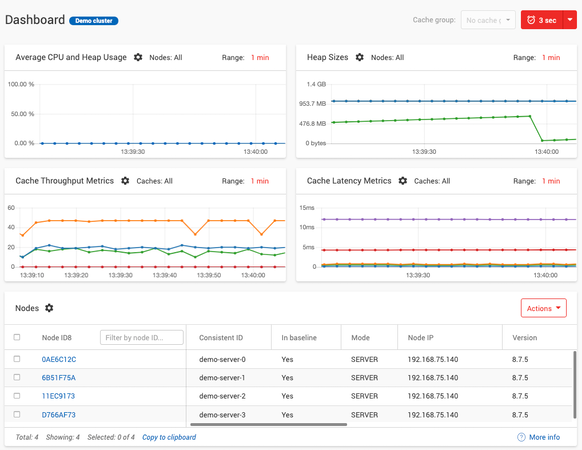 Apache Ignite dashboard