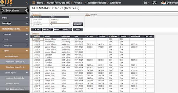 IJS HR attendance report