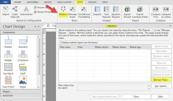 OrgChart data markers