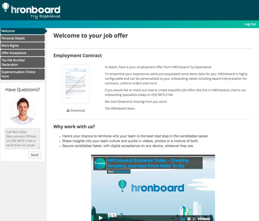HROnboard new hire homepage
