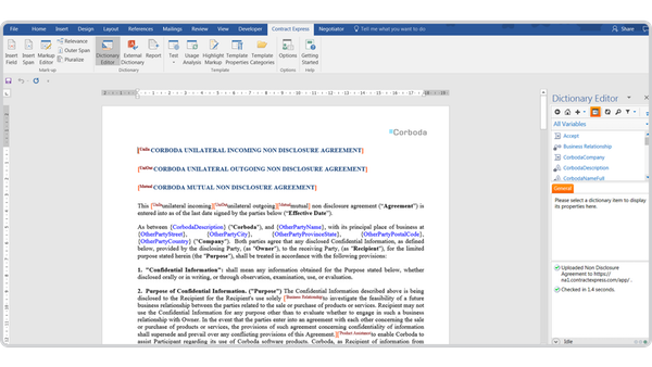 ContractExpress dictionary editor