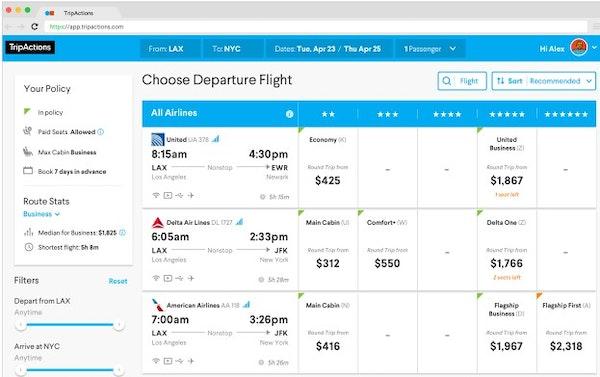 TripActions choosing departure flights