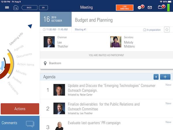 BoardMaps budget and planning screenshot