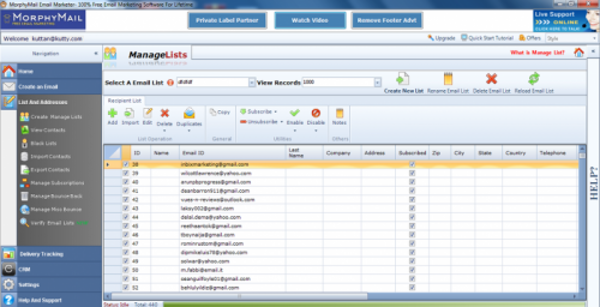 MorphyMail import list screenshot