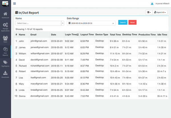 DeskTrack in-out report screenshot
