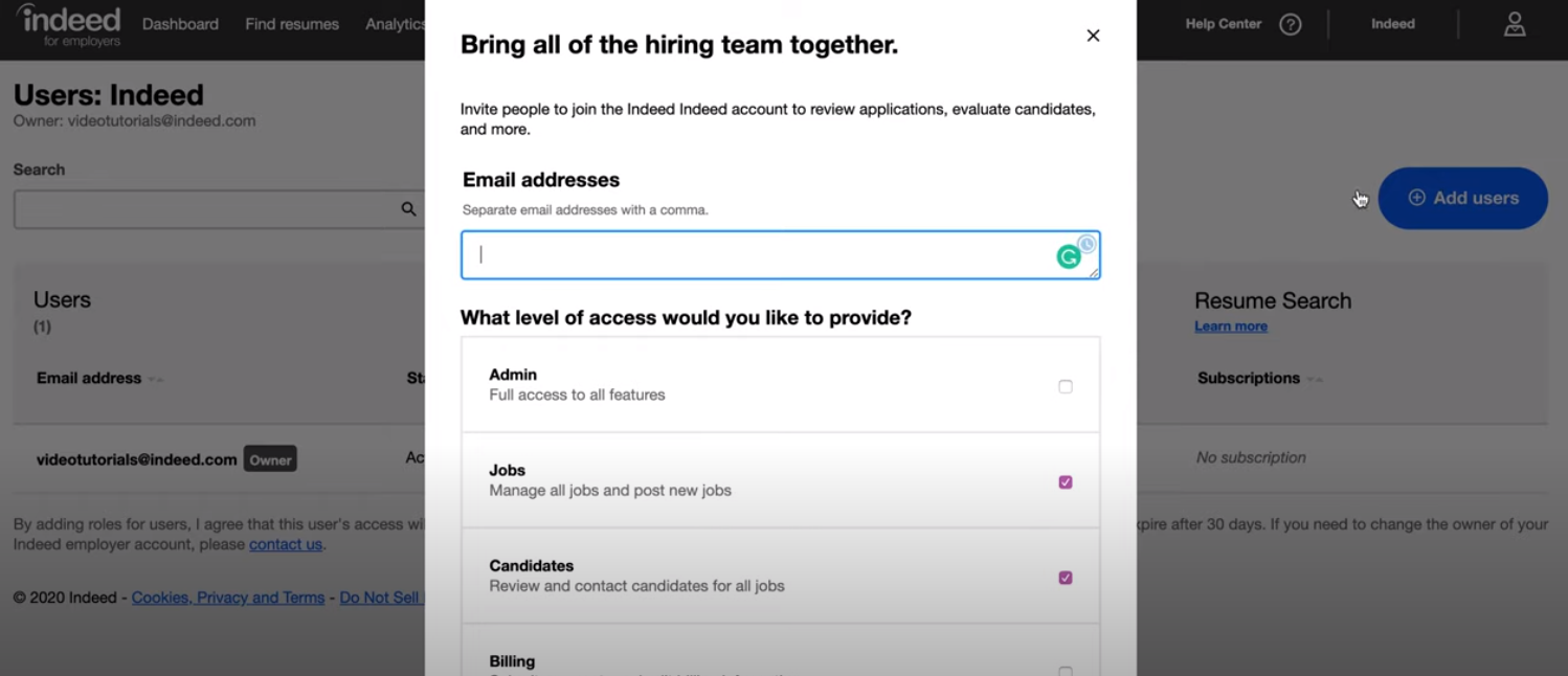 Indeed for employers - Indeed for employers adding users