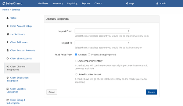 SellerChamp add new integration