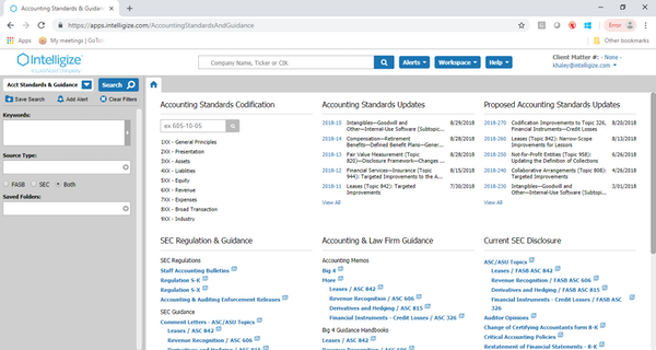 Intelligize accounting standards and guidelines