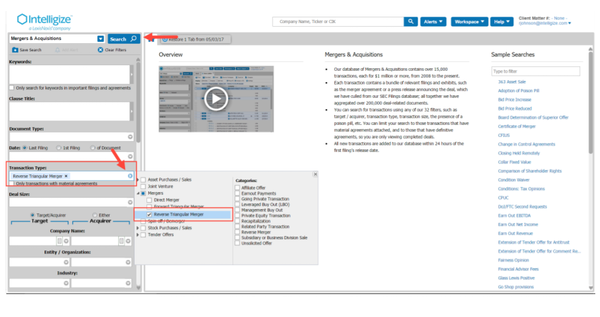 Intelligize search functionality