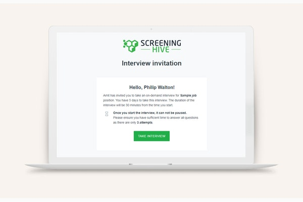 ScreeningHive interview invitation screenshot