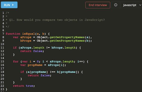 Intervue code editor