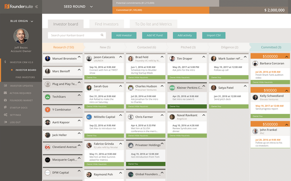 Foundersuite dashboard screenshot