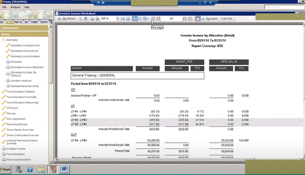 Eze Investor Accounting income worksheet