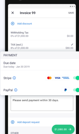 Invoice2go due payments