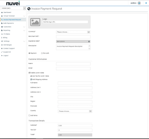 Nuvei configuring invoice payment requests