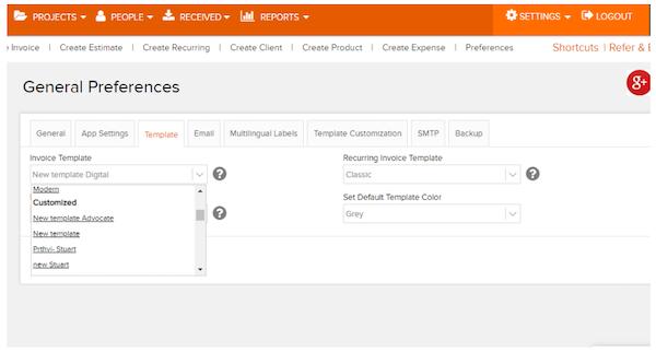 Invoicera template settings