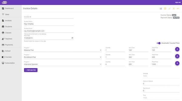 Demiks Admin invoicing screenshot