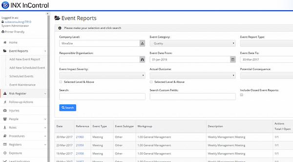 INX InControl event control screenshot