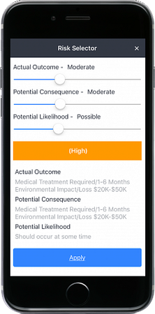 INX InControl risk selector screenshot