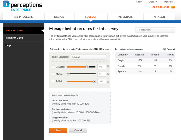 Manage survey invitation rates