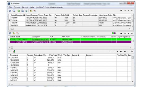 IQMS EDI Translator order processing screenshot