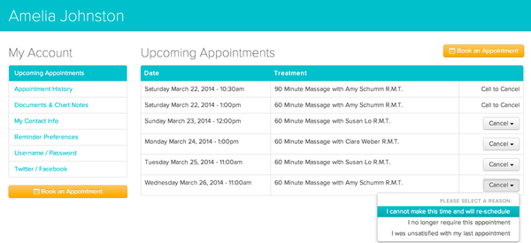 Jane upcoming appointments