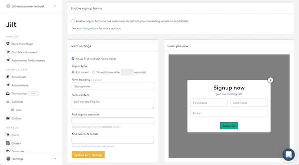 Jilt sign-up form