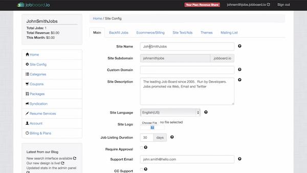 JobBoard.io site configuration screenshot