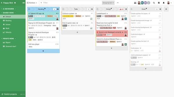 Kantree kanban board screenshot