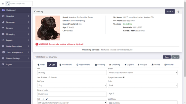Kennel Connection dashboard