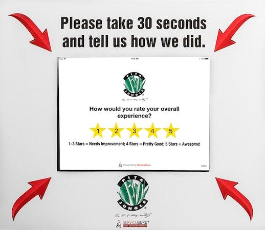ServiceGuru Kiosk customer feedback collection screenshot