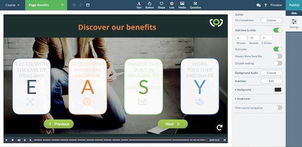 Koantic interactive slide-based courses