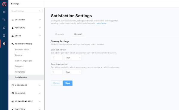 Kustomer satisfaction surveys screenshot
