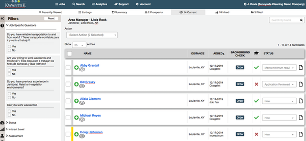 Kwantek applicant overview dashboard